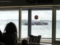 Hoverwork British Hovercraft Technology BHT-130 - Departing as seen through the windows of Southsea Hoverport (James Rowson).
